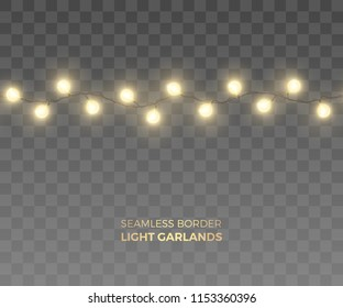 vector seamless short horizontal border of realistic light garlands festive decoration with shiny yellow christmas
