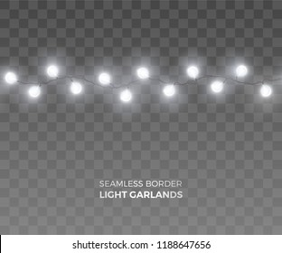 Vector seamless short horizontal border of realistic light garlands. Festive decoration with shiny white Christmas lights. String with glowing fairy bulbs isolated on the transparent background.