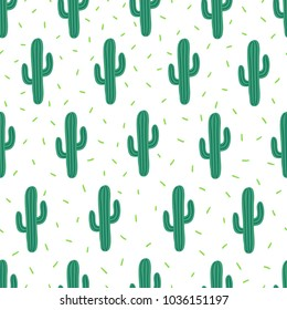 Vector seamless simple pattern with cactuses on white background. Perfect for wallpaper, gift paper and summer greetings.