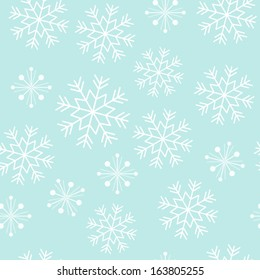 Vector seamless snowflake pattern on a light blue background.