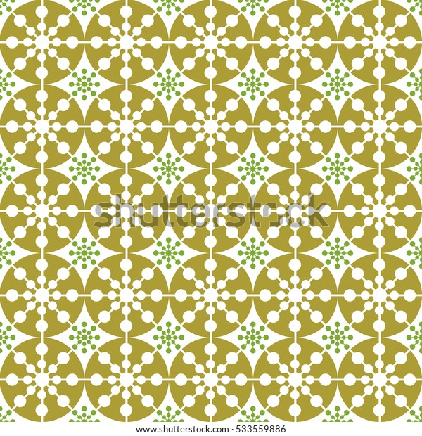 Vector seamless snowflakes background gold and green, for album art, festive Christmas paper for cards and design