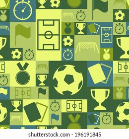 Vector seamless soccer symbols icons design background