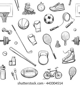 Vector seamless sport pattern. Hand drawings on a white background