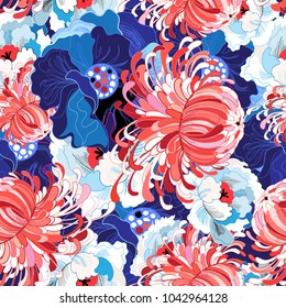 Vector seamless spring floral pattern. Template for design of business cards, backgrounds, advertising.