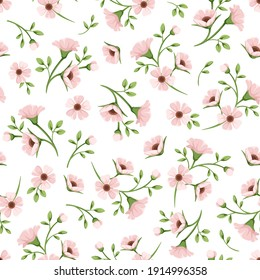 Vector seamless spring floral pattern with small pink flowers on a white background.