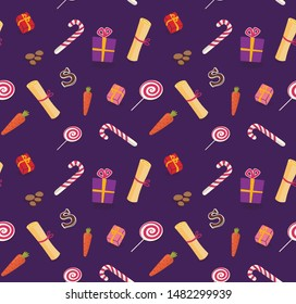 Vector Seamless St Nicholas day pattern with cute colored holland traditional elements: shoes, candies, carrots.