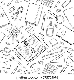 Vector seamless stationery pattern. Hand-drawn black & white background. Doodle stylish office pattern