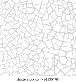 Vector seamless stone pattern. Broken glass. Abstract mosaic pattern. Gray and white background. For design and decorate path, wall, backdrop. Masonry endless texture. crack
