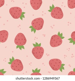 Vector seamless strawberry pattern background