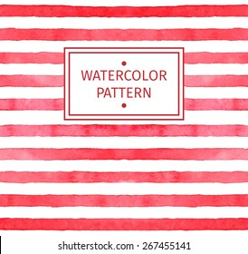 Vector seamless strip  watercolor  pattern. Red background.