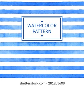Vector seamless strip watercolor pattern. Blue background.