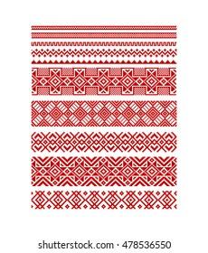 Vector seamless stripe red ornamental slavic pattern