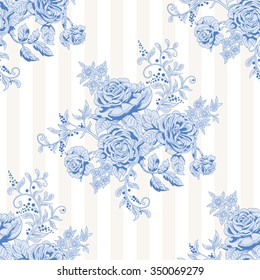 Vector seamless striped background with a bouquet of french roses. Vintage style.