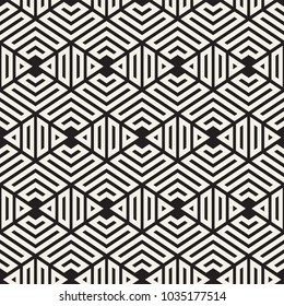 Vector seamless stripes pattern. Modern stylish texture with monochrome trellis. Repeating geometric hexagonal grid. Simple lattice graphic design.