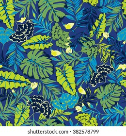 vector seamless stylish bright artistic topics pattern with flowers, philodendron, split leaf, tropical leaves, leaf, rain forest wild nature design, colorful summer vibes tropic background print