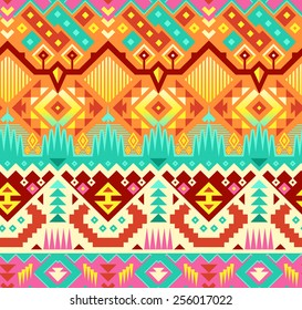 Vector Seamless Stylish Tribal Pattern. Colorful Ethnic Background with Triangles, Rhombus and Stripes. Pink, Orange, Yellow and Emerald Colors