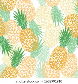 Vector seamless summer pattern with pineapples. Delicious beautiful fruits in several layers. Design for print on fabric, wallpaper, wrapping paper
