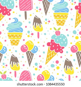 Vector seamless summer pattern, sweet desserts, ice cream. Perfect for wallpaper, surface desing, textile, print.