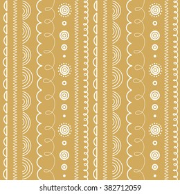 Vector seamless summer spring white and golden doodle pattern. Brush lines, ribbons and borders set.