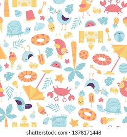 Vector seamless summer time pattern