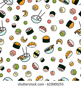Vector seamless sushi pattern