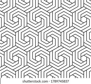 Vector seamless swirl hexagon pattern. Modern stylish thin linear texture.