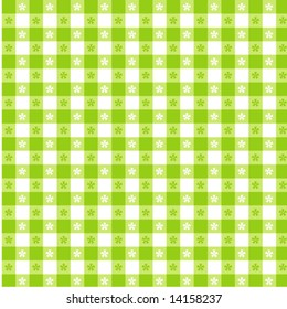 Vector - Seamless Tablecloth Pattern, lime green and white for picnics, restaurants, bistros, decorating. EPS8 includes pattern swatch that seamlessly fills any shape.