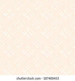 Vector seamless tartan pattern with bold brushstrokes and stripes in soft beige and white colors