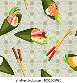 Vector seamless temaki with different fillings and wooden chopsticks on a Japanese background
