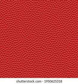 Vector seamless texture of basketball. Realistic pattern of  red synthetic leather. Sports background with a chaotic dots. Rough square tile.