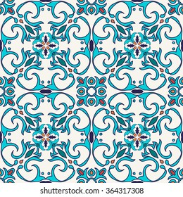 Vector seamless texture. Beautiful colored pattern for design and fashion with decorative elements. Portuguese tiles, Azulejo, Moroccan ornaments in blue and orange colors