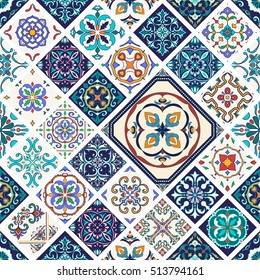 Vector seamless texture. Beautiful mega patchwork pattern for design and fashion with decorative elements in rhombus. Portuguese tiles, Azulejo, Moroccan ornaments