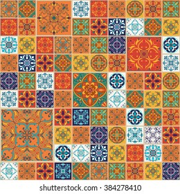 Vector seamless texture. Beautiful patchwork pattern for design and fashion with decorative elements. Portuguese tiles, Azulejo, Talavera, Moroccan ornaments in blue and orange colors