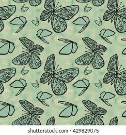 Vector seamless texture with butterflies. Eps-8