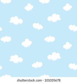 Vector seamless texture with cartoon clouds