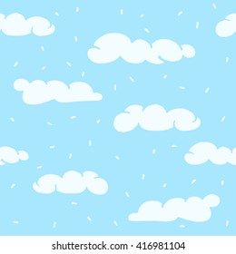 Vector seamless texture with cartoon clouds.  Perfect for wrapping paper, textile, greeting cards, party invitations, web pages, surface textures.  Vector illustration.