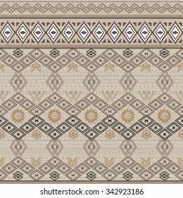 Vector seamless texture. Ethnic tribal geometric pattern. Aztec boho ornamental style. Ethno native american indian ornaments