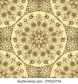 Vector seamless texture with floral mandala in indian style. Mehndi ornamental pattern. Hand drawn ethnic floral ornaments for henna design