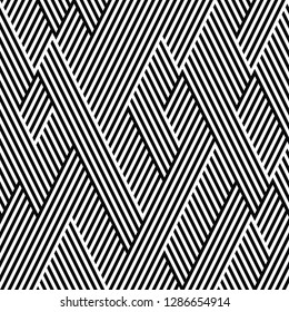 Vector seamless texture. Geometric abstract background. Monochrome repeating pattern of broken oblique lines.