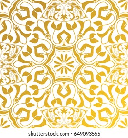 Vector seamless texture. Golden vintage pattern. Arabesque and floral ornaments. Oriental, asian, Arabic, Moroccan, Turkish motifs
