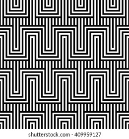 Vector seamless texture. Modern abstract background. Monochrome geometric pattern with rectangles on the background of vertical stripes.