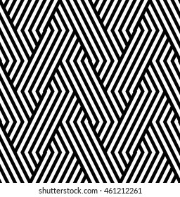 Vector seamless texture. Modern abstract background. Monochrome repeating pattern of intersecting bands.