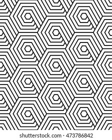 Vector seamless texture. Modern abstract background. Repeated monochrome pattern with hexagons.