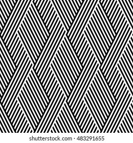 Vector seamless texture. Modern abstract background. Monochrome repeating pattern with rhombus slanting stripes located on the background.