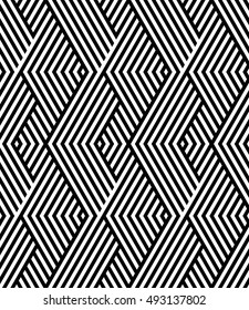 Vector seamless texture. Modern abstract background. Monochrome geometrical pattern with repeating diamonds on a background of oblique strips.
