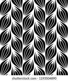 Vector seamless texture. Modern geometric background. Repeating monochrome pattern with abstract flowers.