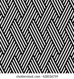 Vector seamless texture. Modern geometric background. Repeated monochrome pattern. Interlacing oblique stripes.
