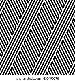 Vector seamless texture. Modern geometric background. Repeated monochrome pattern. Ornament of oblique strips.