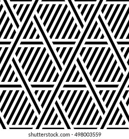 Vector seamless texture. Modern geometric background. Monochrome repeating pattern of overlapping, superimposed on each other's bands