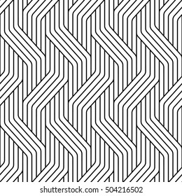 Vector seamless texture. Modern geometric background. Monochrome repeating pattern of intersecting bands.